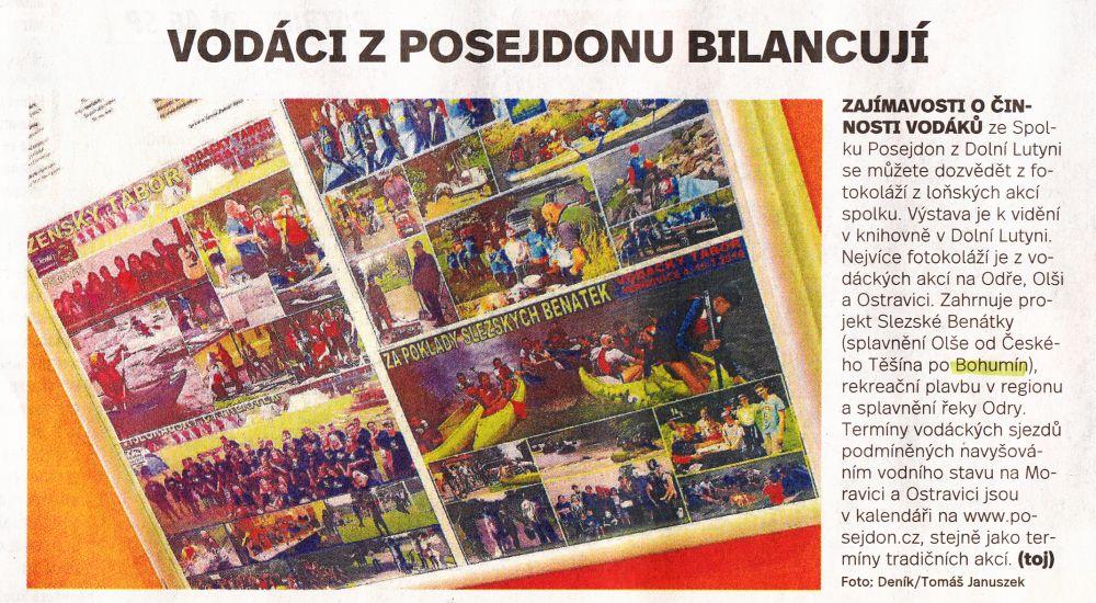 Na Mesto-Bohumin.CZ je novinový článek - Deník ze dne 14.2. 2017 č.38 strana 3 - Vodáci z Posejdonu bilancují